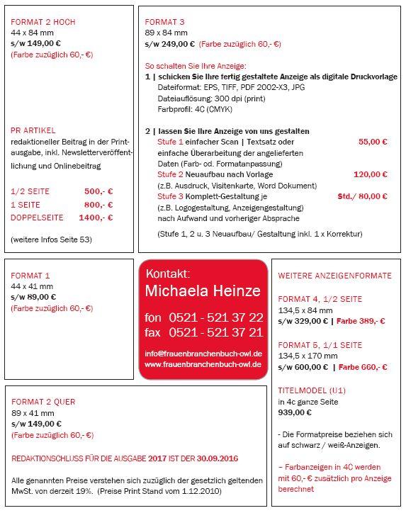 Mediadaten Formate Frauenbranchenbuch OWL
