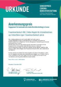 Urkunde Sonderpreis Corona-Berichterstattung geht an das Online Magazin des Frauenbranchenbuch-OWL